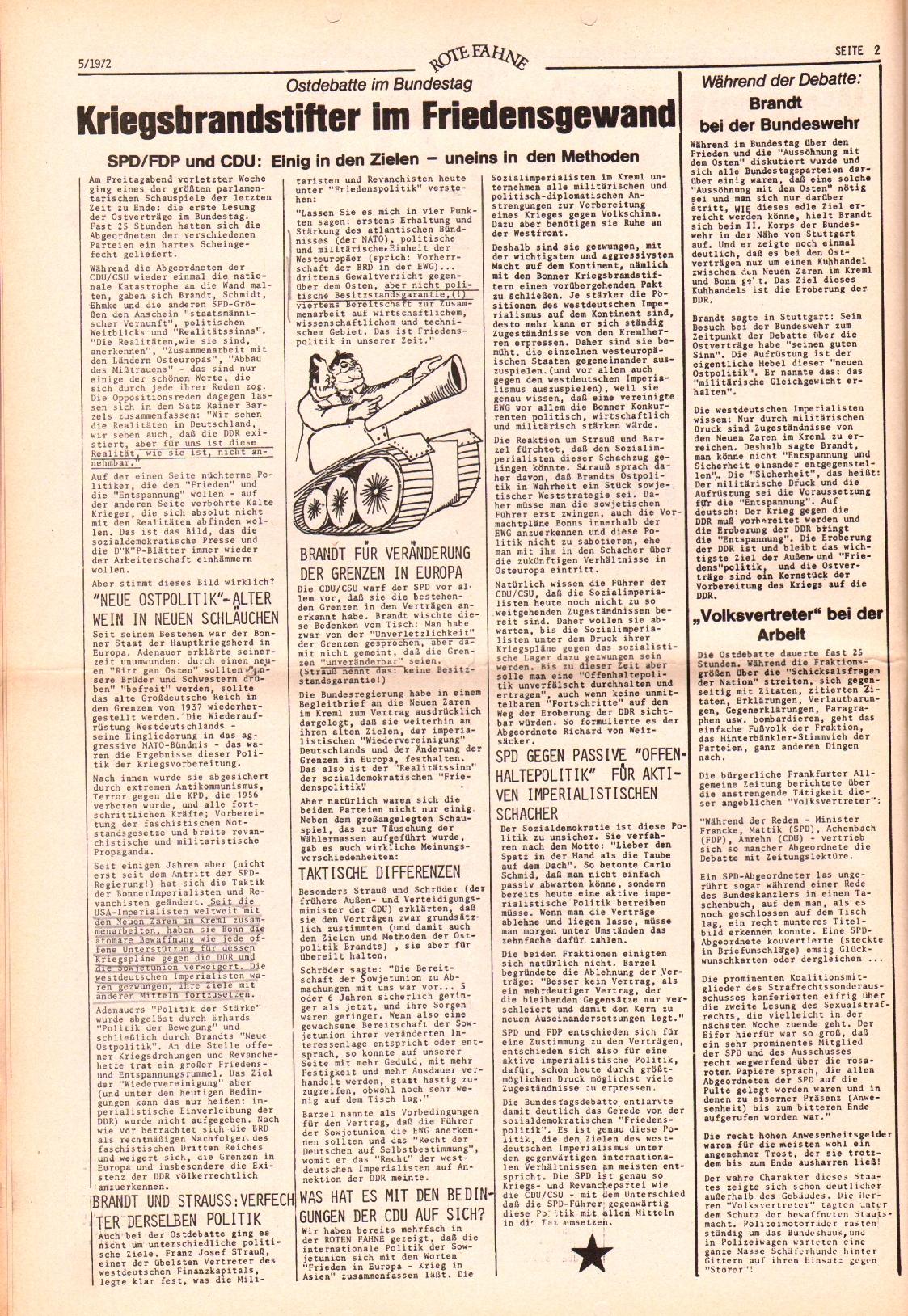 Rote Fahne, 3. Jg., 6.3.1972, Nr. 5, Seite 2