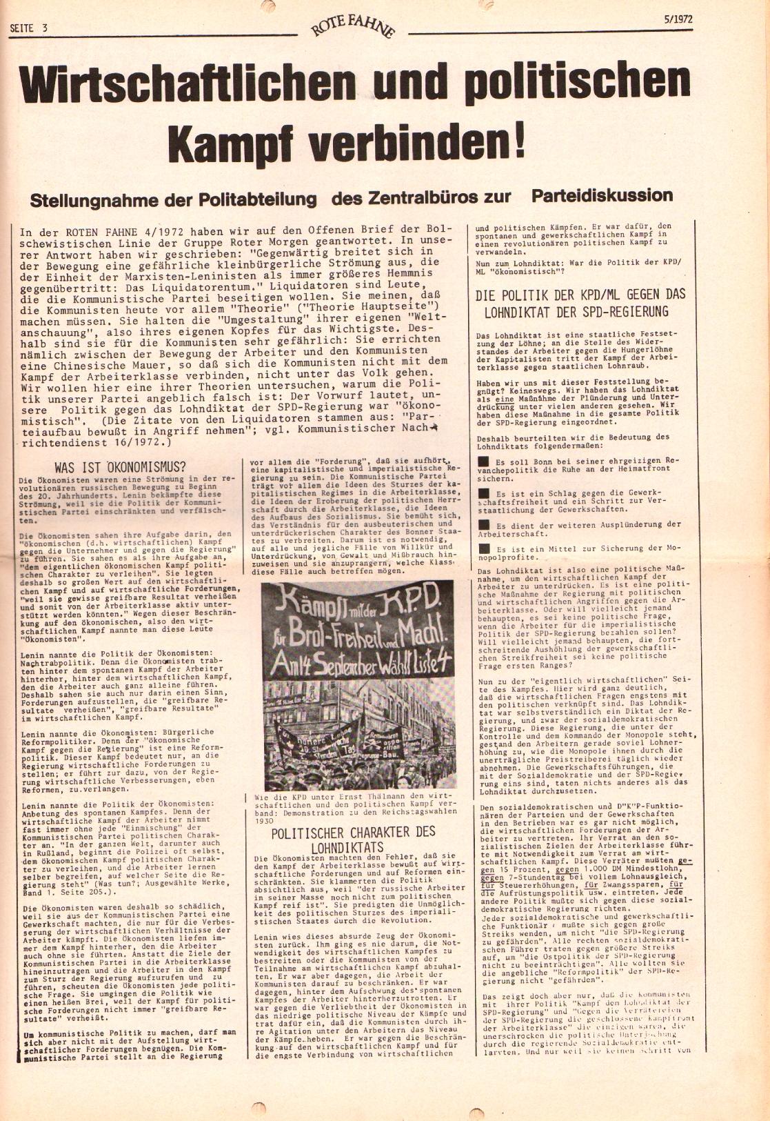 Rote Fahne, 3. Jg., 6.3.1972, Nr. 5, Seite 3