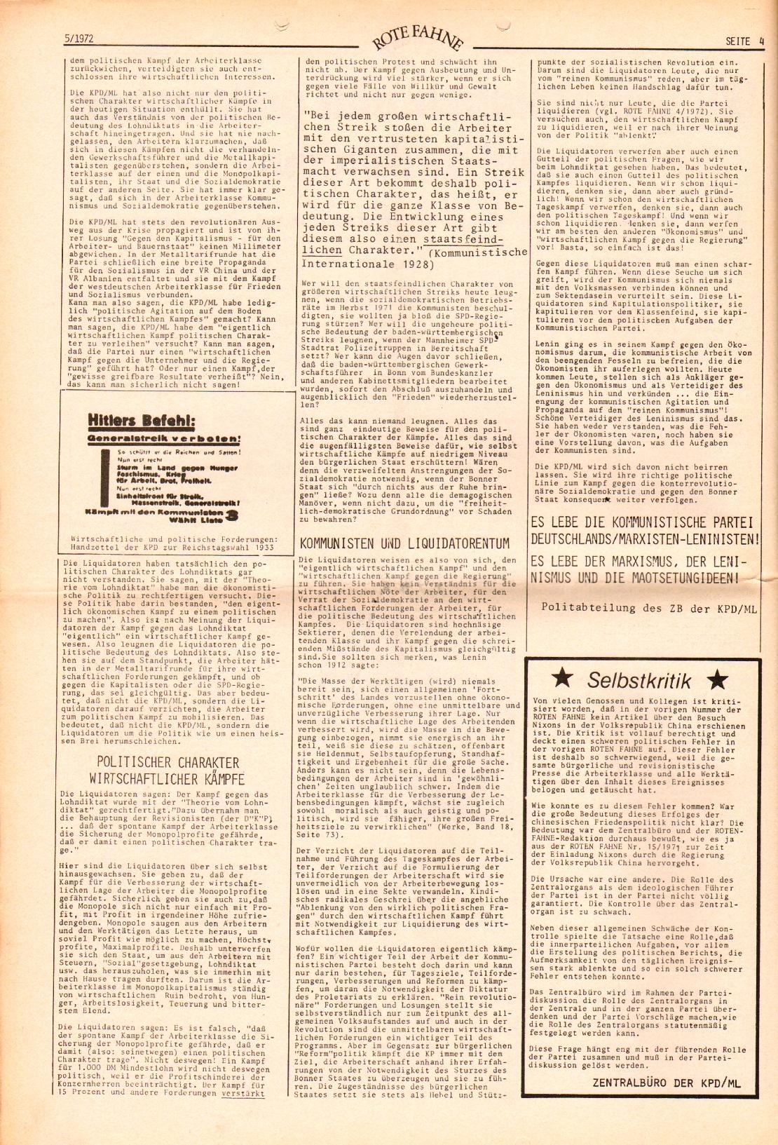 Rote Fahne, 3. Jg., 6.3.1972, Nr. 5, Seite 4