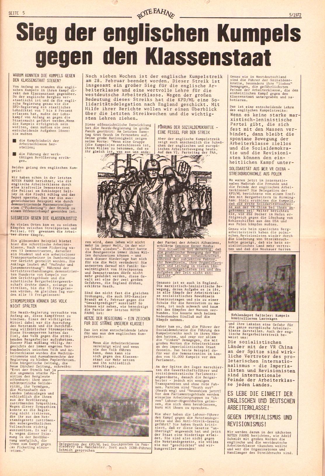Rote Fahne, 3. Jg., 6.3.1972, Nr. 5, Seite 5