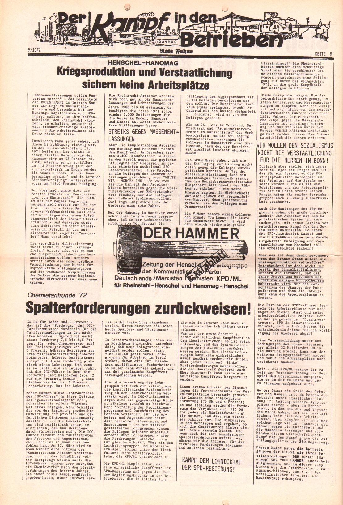 Rote Fahne, 3. Jg., 6.3.1972, Nr. 5, Seite 6