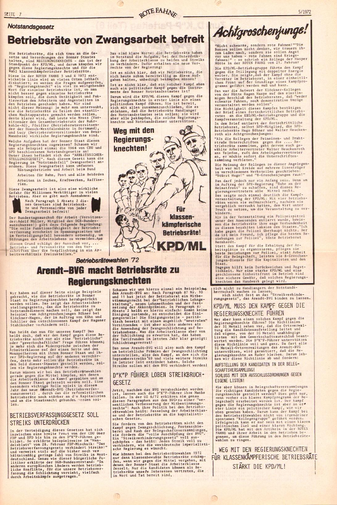 Rote Fahne, 3. Jg., 6.3.1972, Nr. 5, Seite 7