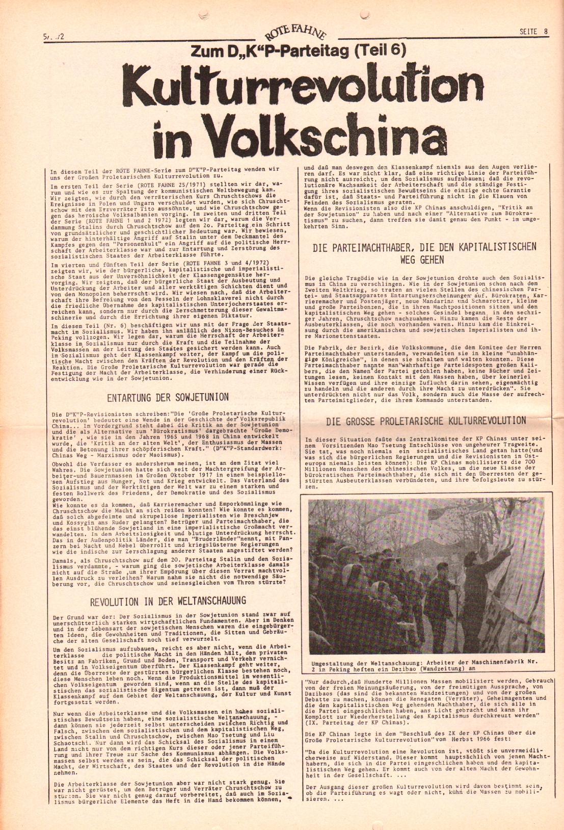 Rote Fahne, 3. Jg., 6.3.1972, Nr. 5, Seite 8