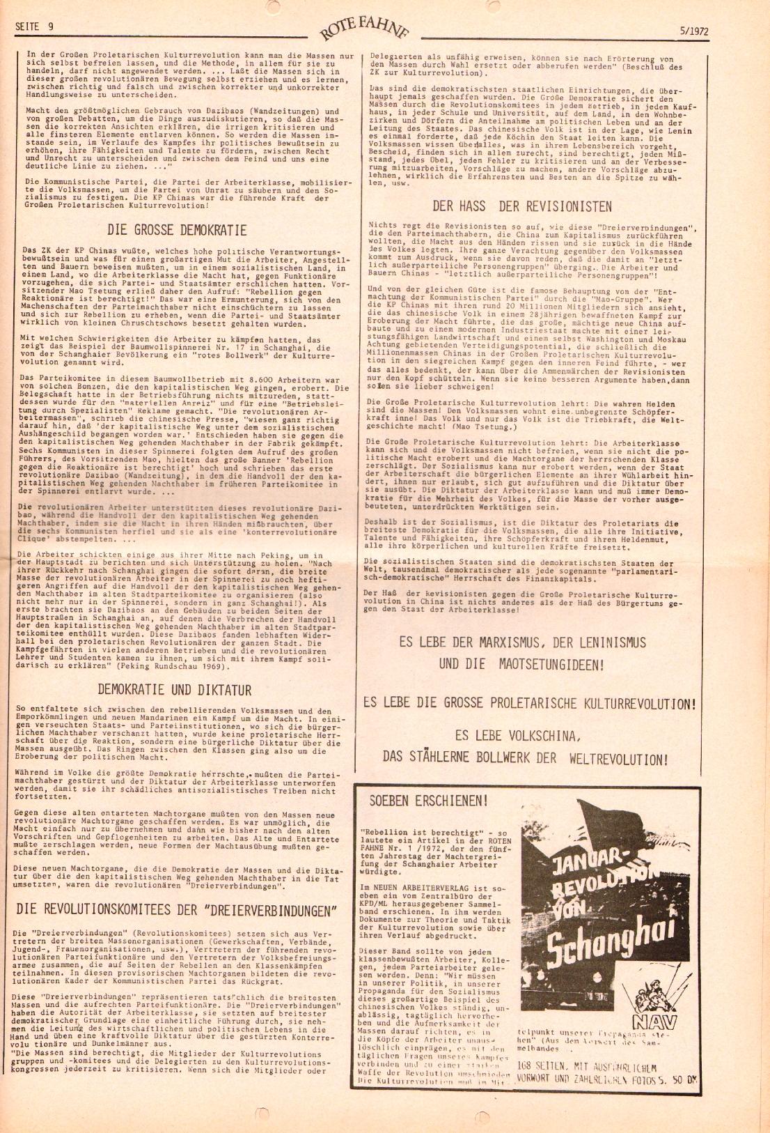 Rote Fahne, 3. Jg., 6.3.1972, Nr. 5, Seite 9