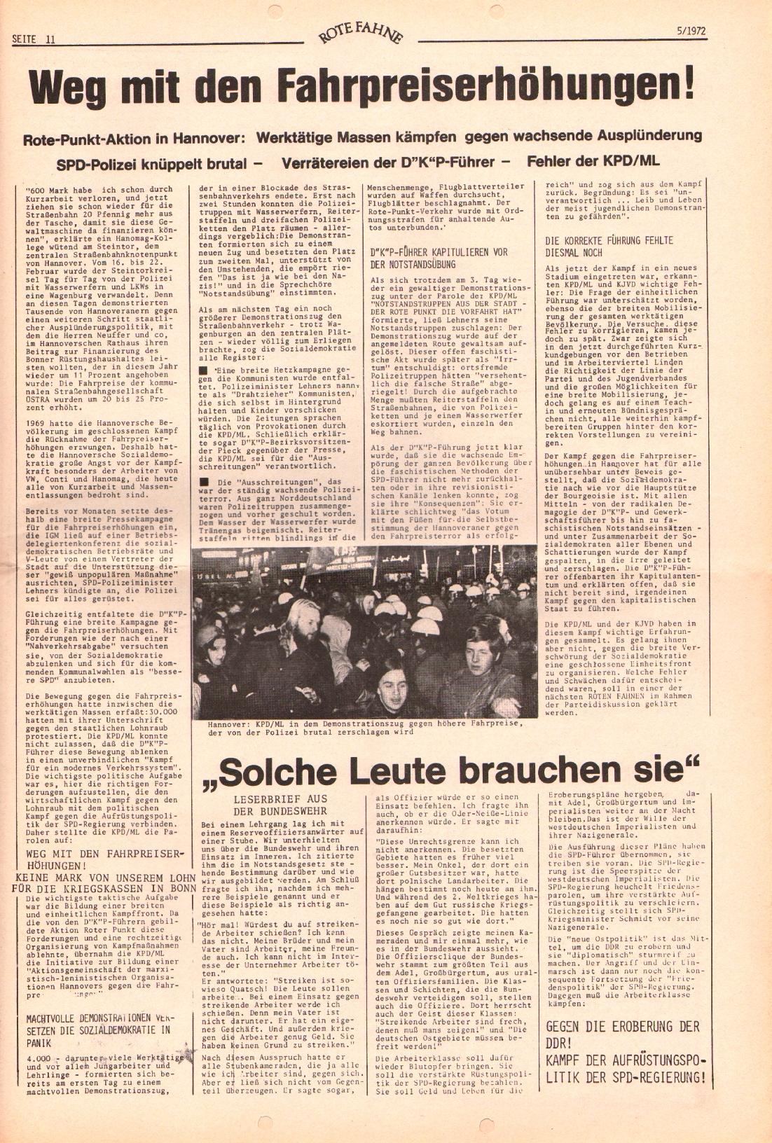 Rote Fahne, 3. Jg., 6.3.1972, Nr. 5, Seite 11
