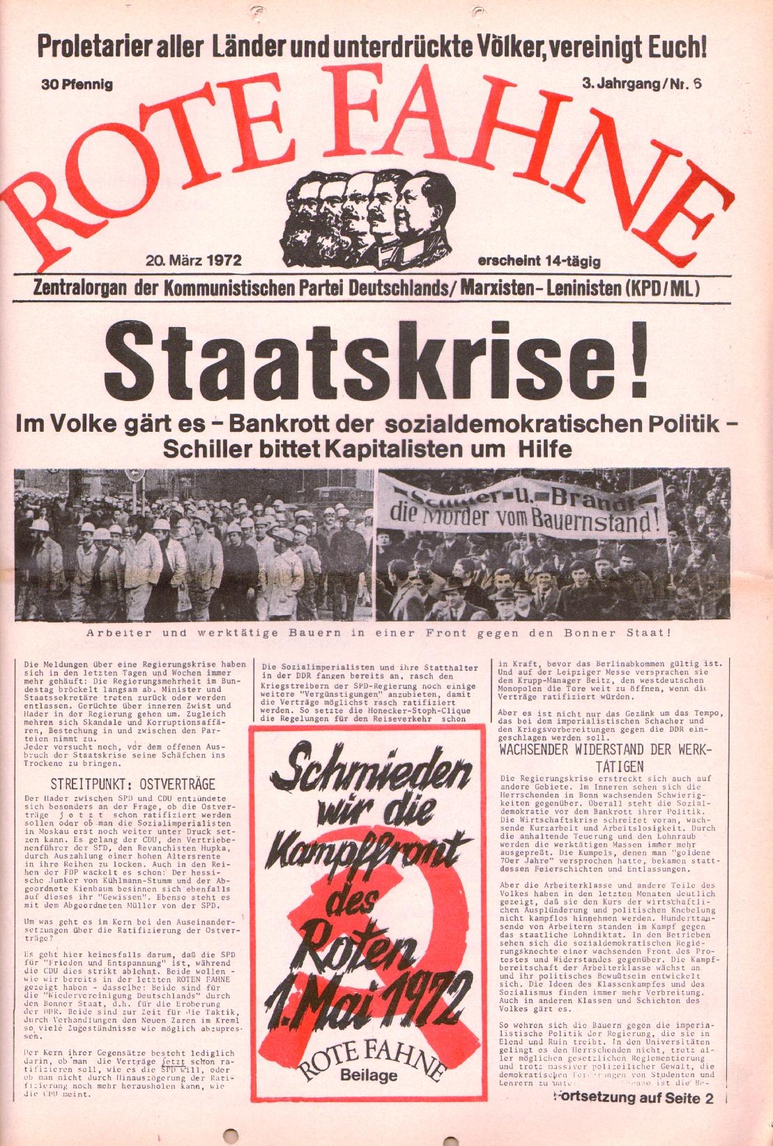 Rote Fahne, 3. Jg., 20.3.1972, Nr. 6, Seite 1