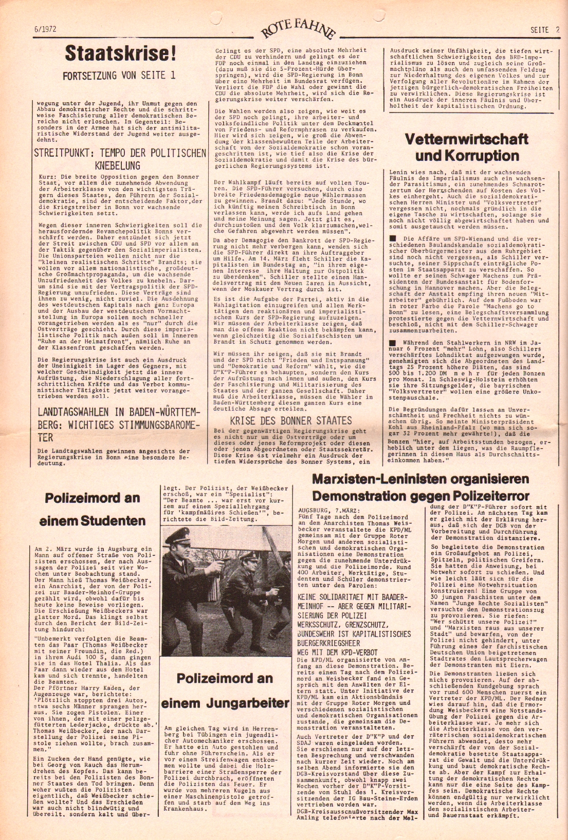 Rote Fahne, 3. Jg., 20.3.1972, Nr. 6, Seite 2