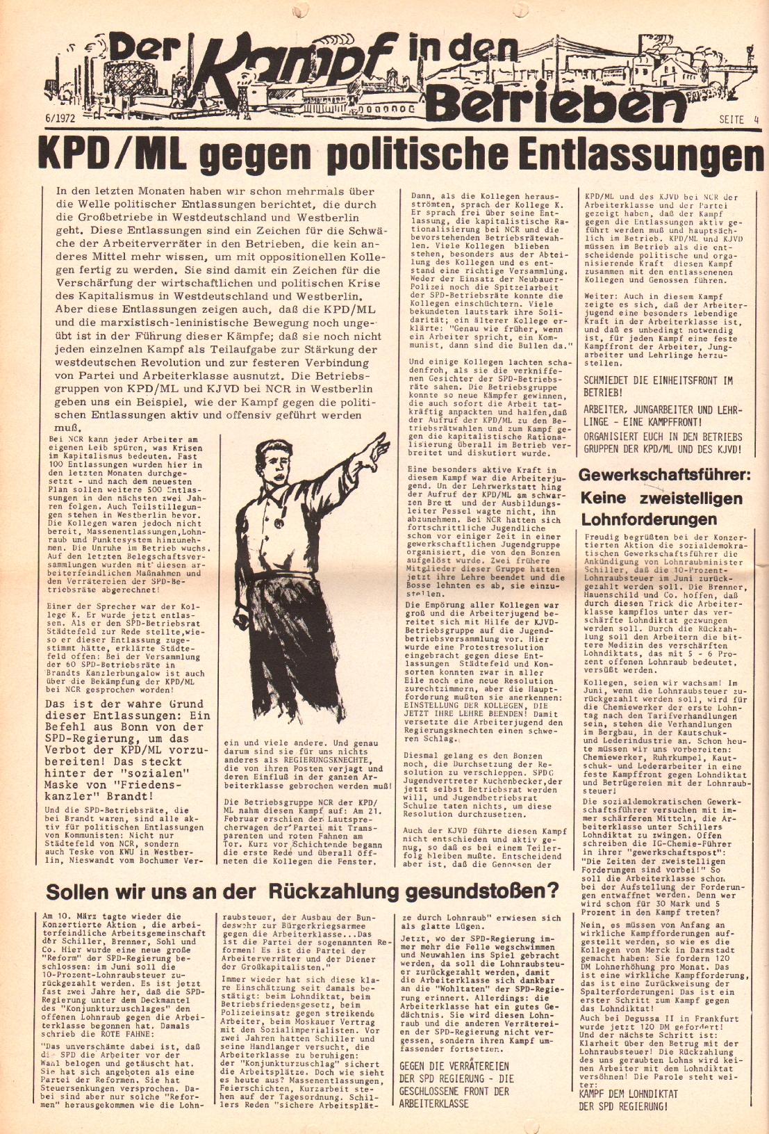 Rote Fahne, 3. Jg., 20.3.1972, Nr. 6, Seite 4