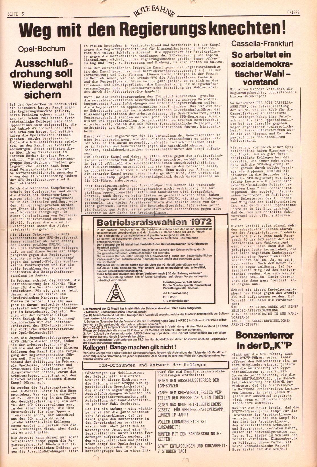 Rote Fahne, 3. Jg., 20.3.1972, Nr. 6, Seite 5