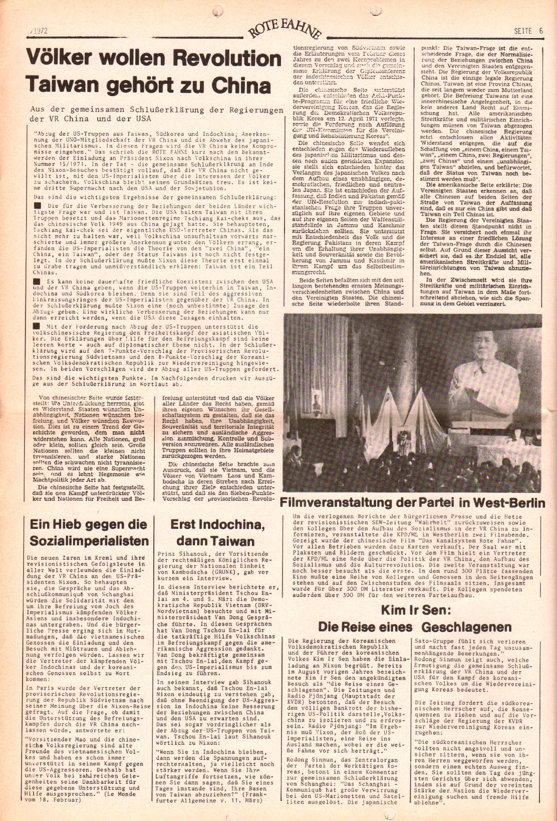 Rote Fahne, 3. Jg., 20.3.1972, Nr. 6, Seite 6