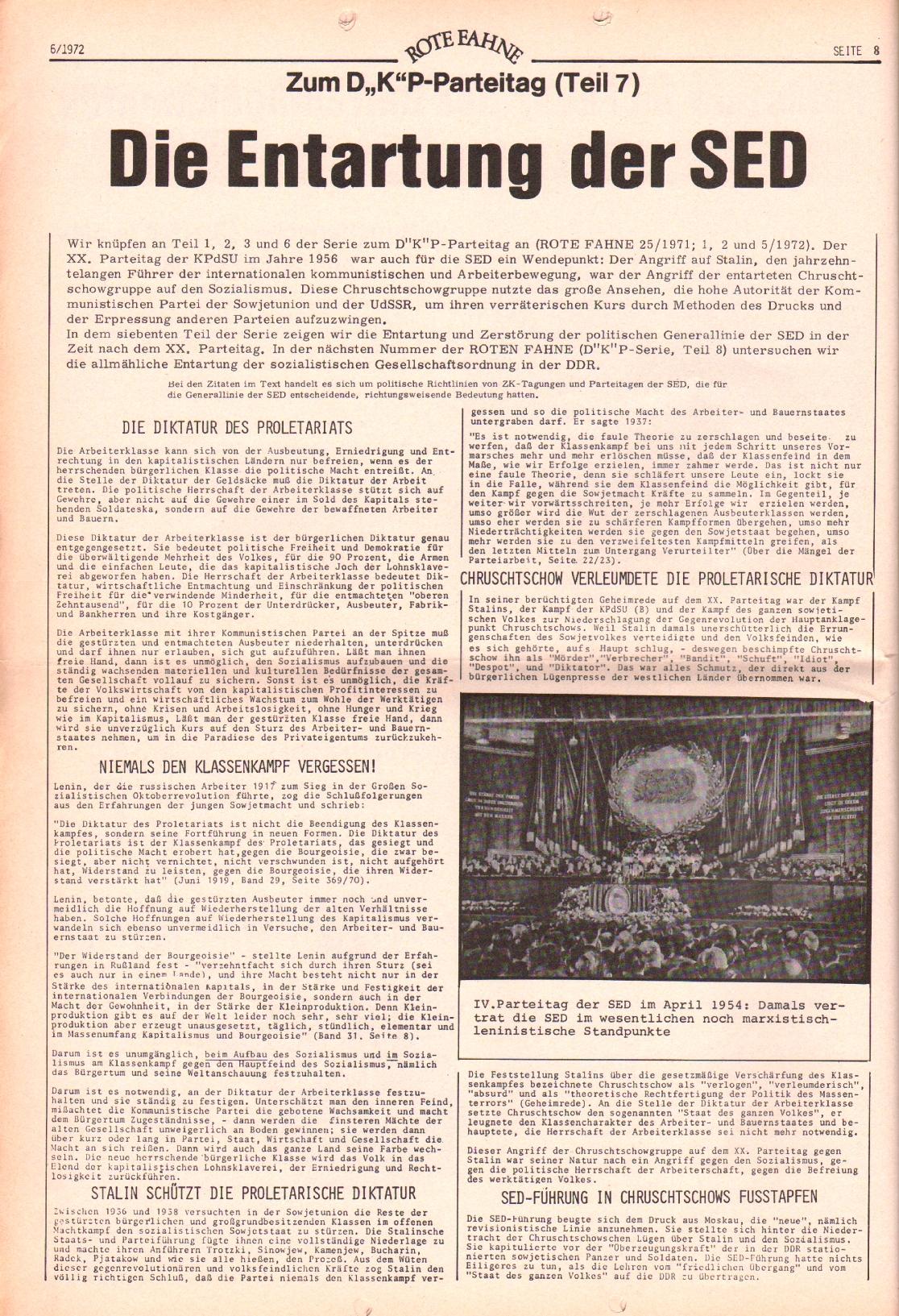 Rote Fahne, 3. Jg., 20.3.1972, Nr. 6, Seite 8