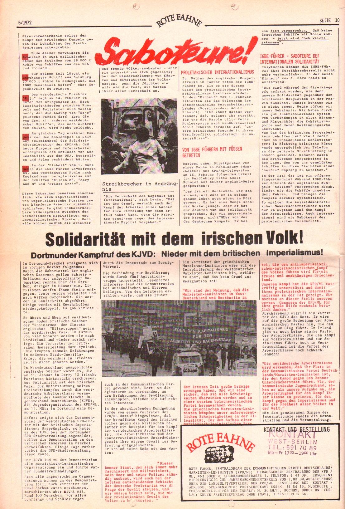 Rote Fahne, 3. Jg., 20.3.1972, Nr. 6, Seite 10