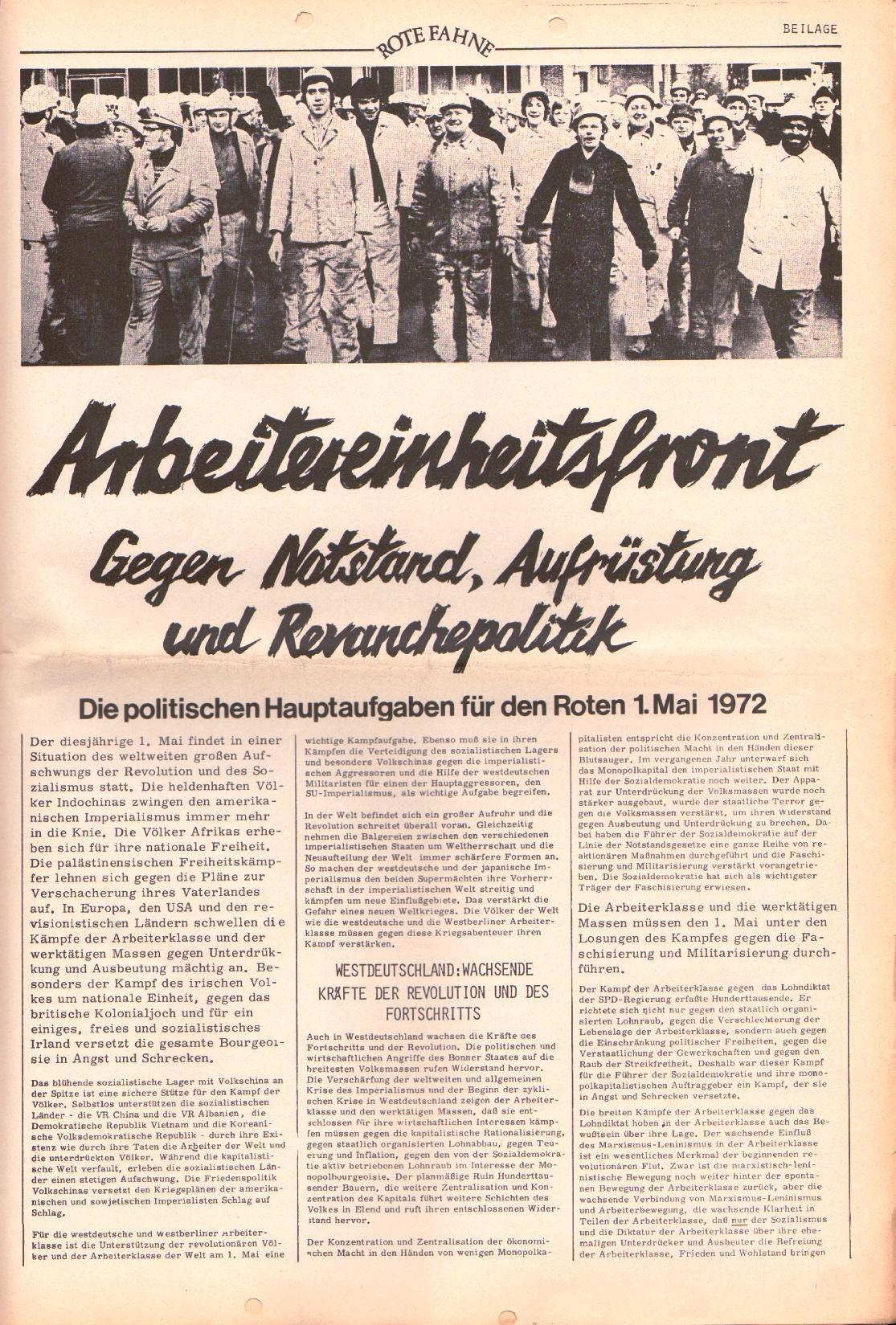 Rote Fahne, 3. Jg., 20.3.1972, Nr. 6, Beilage, Seite 1