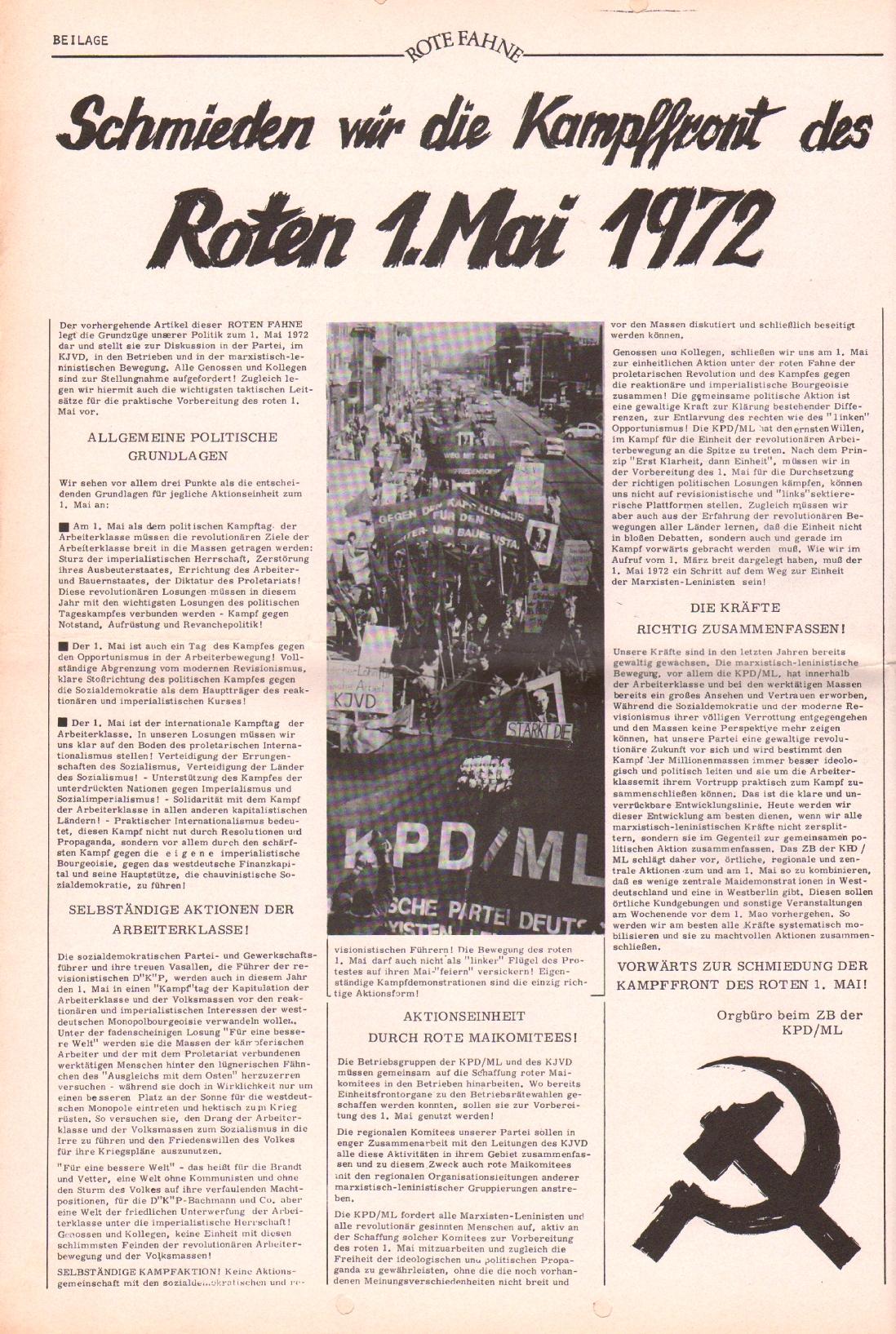 Rote Fahne, 3. Jg., 20.3.1972, Nr. 6, Beilage, Seite 4