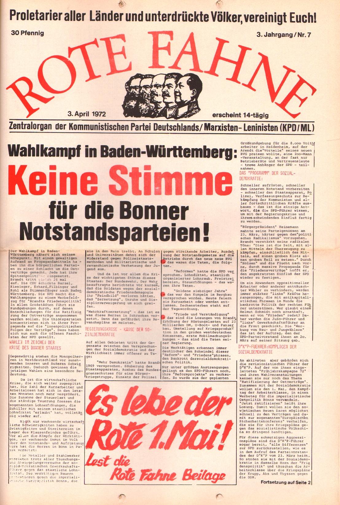 Rote Fahne, 3. Jg., 3.4.1972, Nr. 7, Seite 1