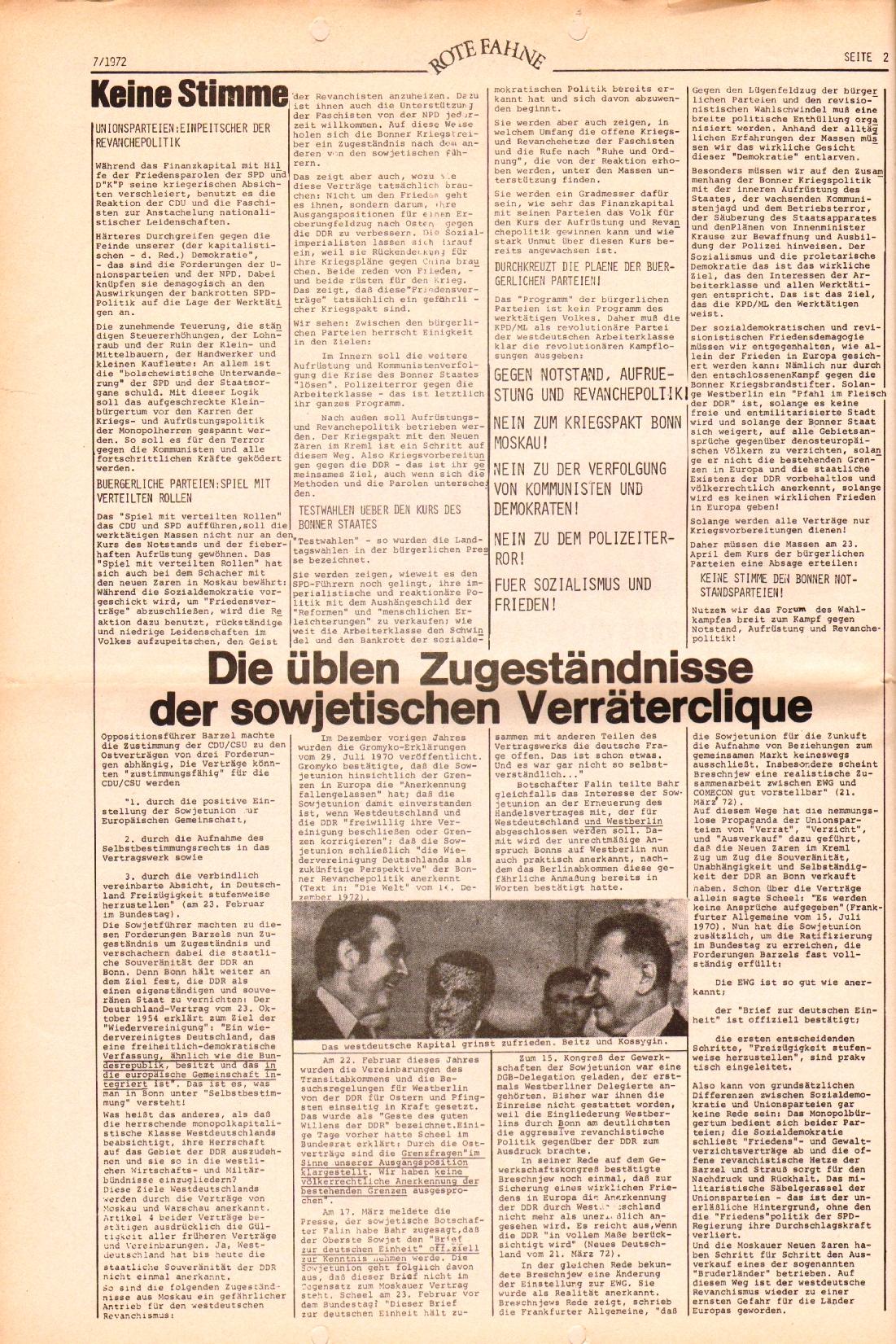 Rote Fahne, 3. Jg., 3.4.1972, Nr. 7, Seite 2