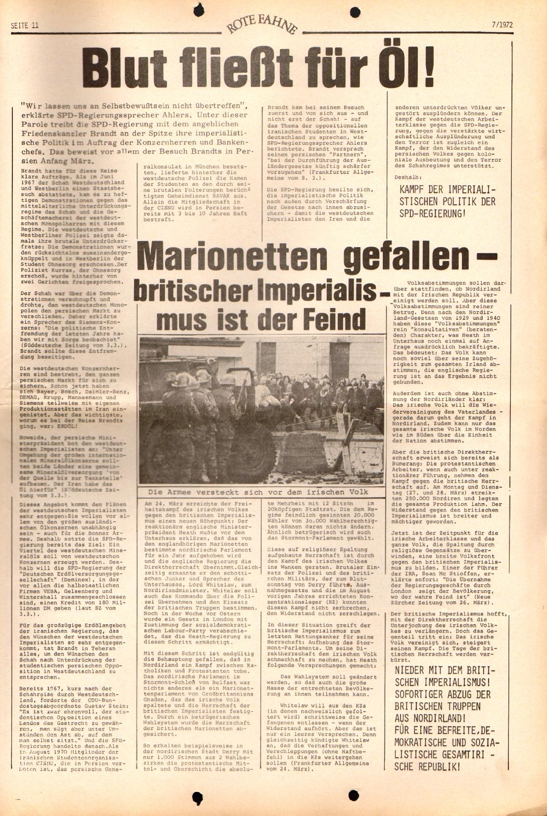 Rote Fahne, 3. Jg., 3.4.1972, Nr. 7, Seite 11