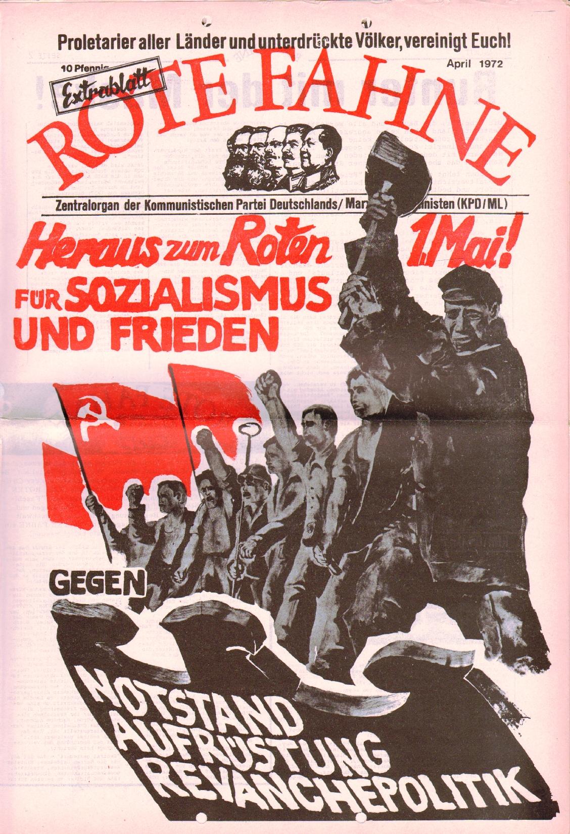 Rote Fahne, 3. Jg., April 1972, Extrablatt, Seite 1