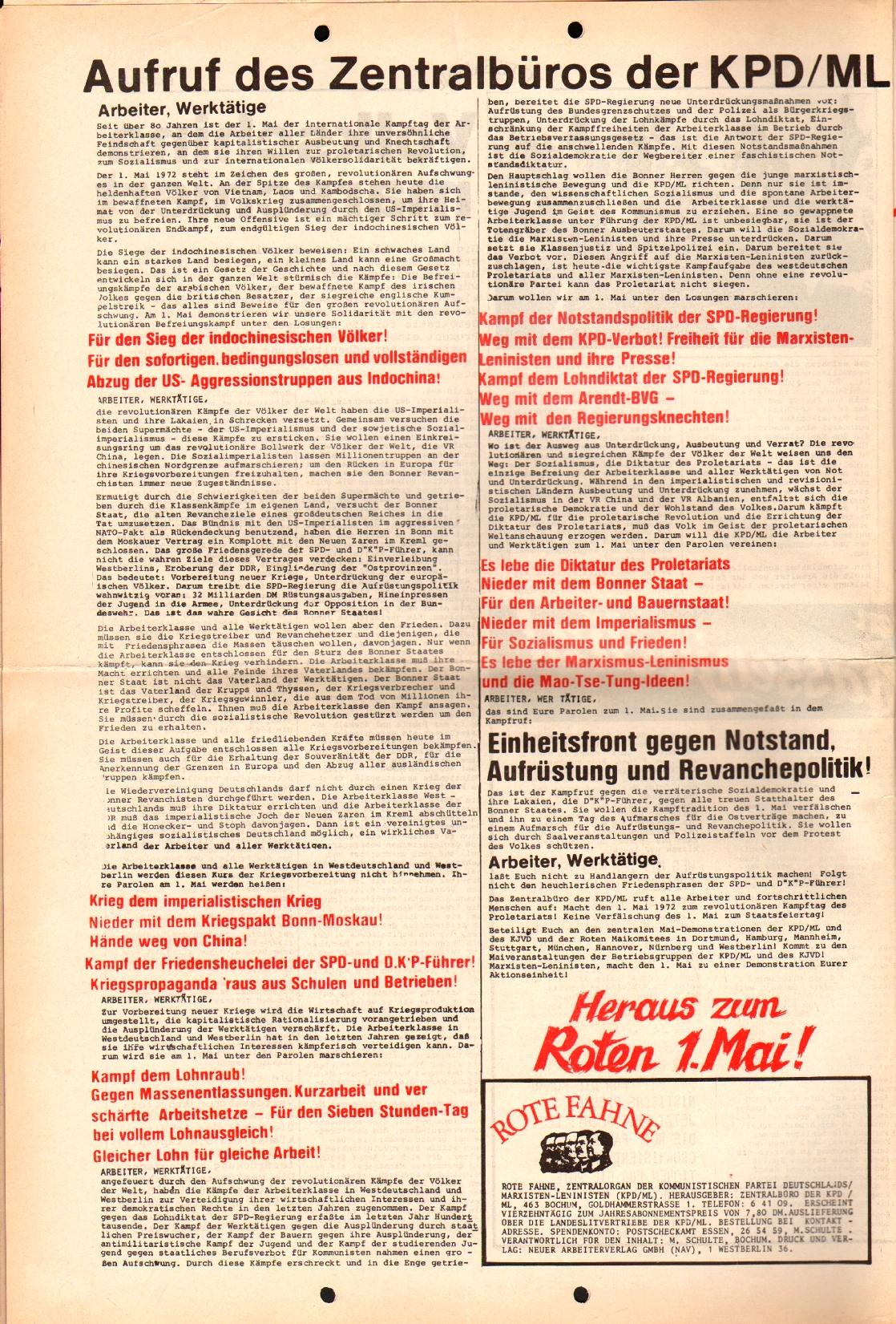 Rote Fahne, 3. Jg., April 1972, Extrablatt, Seite 4