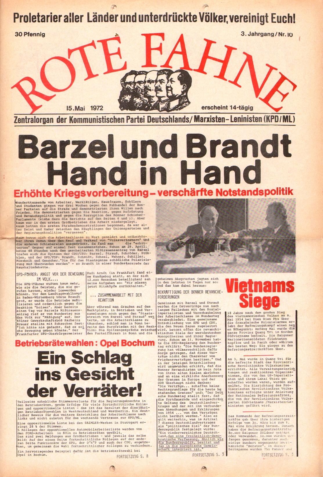 Rote Fahne, 3. Jg., 15.5.1972, Nr. 10, Seite 1