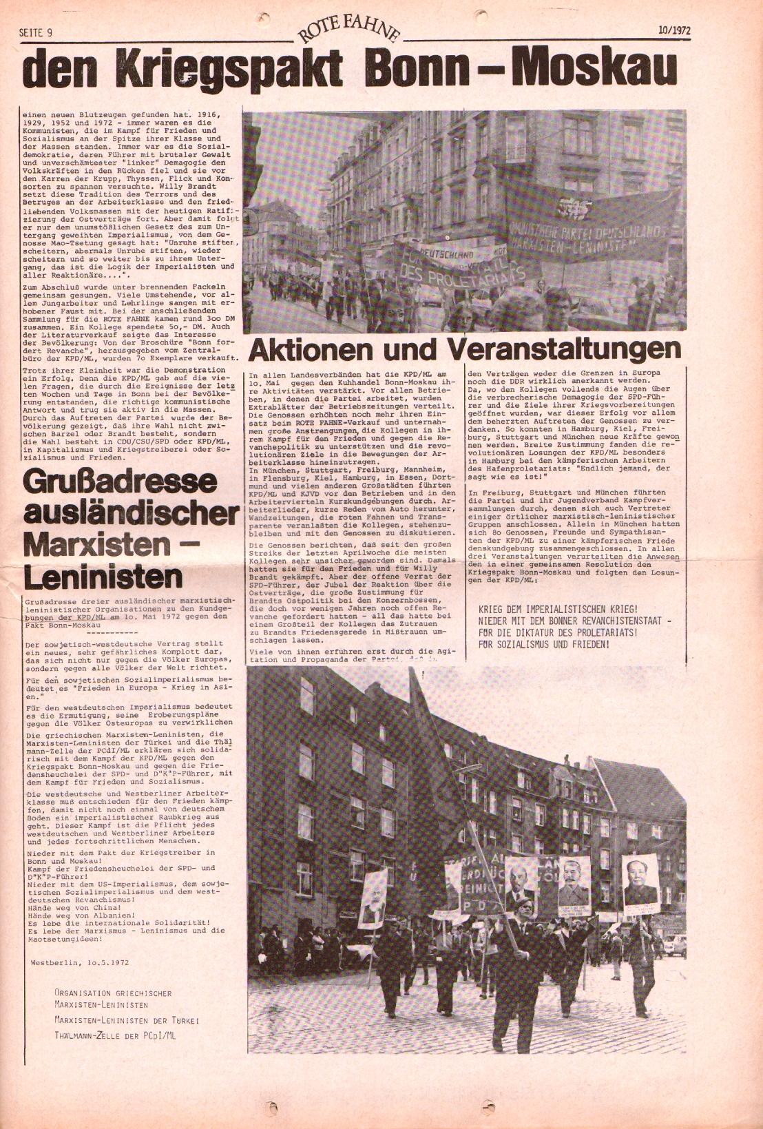 Rote Fahne, 3. Jg., 15.5.1972, Nr. 10, Seite 9