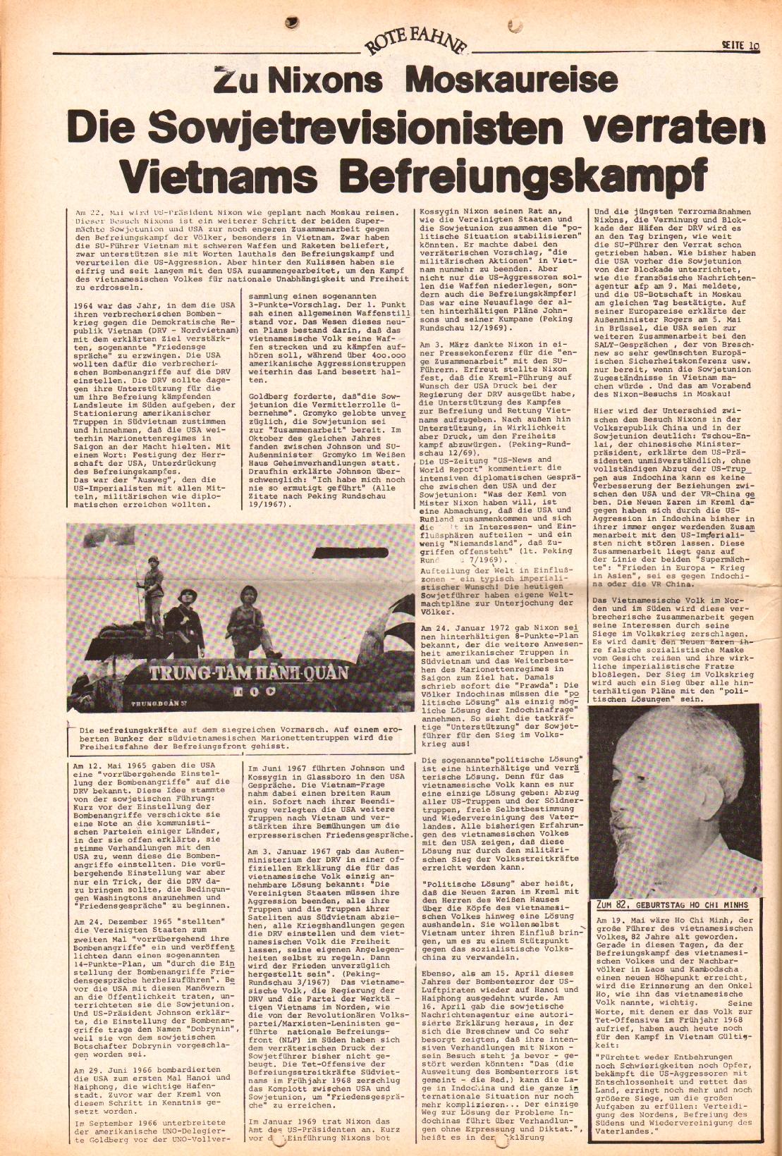 Rote Fahne, 3. Jg., 15.5.1972, Nr. 10, Seite 10