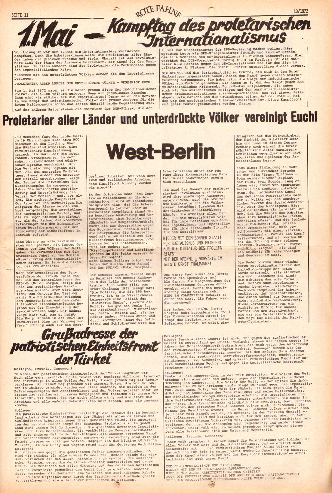 Rote Fahne, 3. Jg., 15.5.1972, Nr. 10, Seite 11