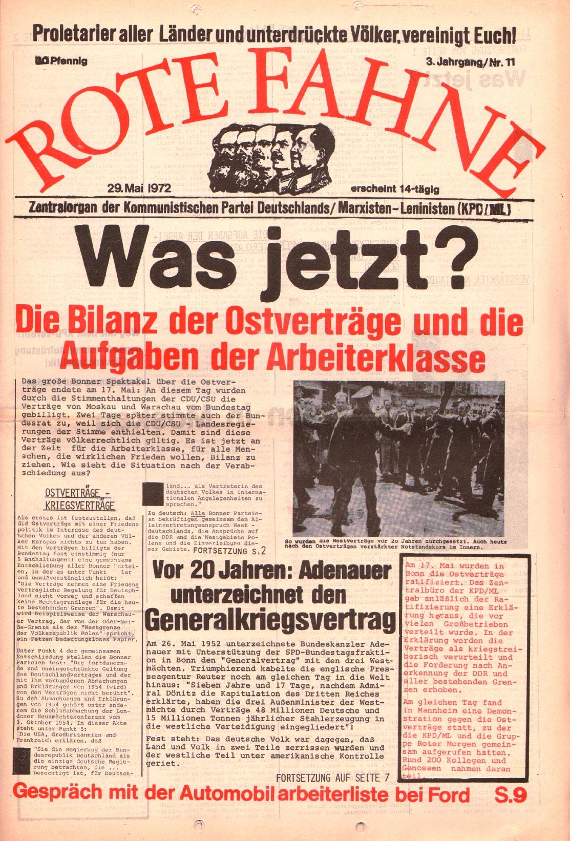 Rote Fahne, 3. Jg., 29.5.1972, Nr. 11, Seite 1
