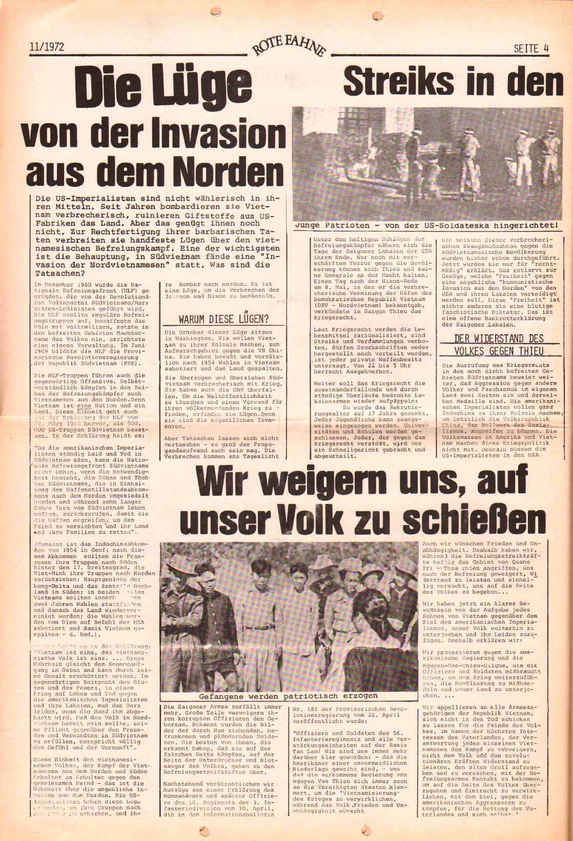 Rote Fahne, 3. Jg., 29.5.1972, Nr. 11, Seite 4