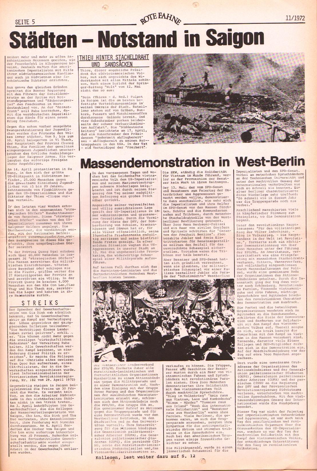 Rote Fahne, 3. Jg., 29.5.1972, Nr. 11, Seite 5