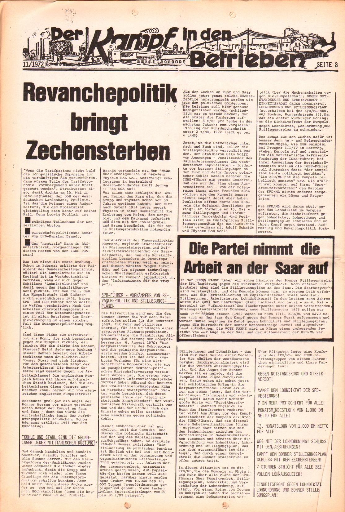 Rote Fahne, 3. Jg., 29.5.1972, Nr. 11, Seite 8