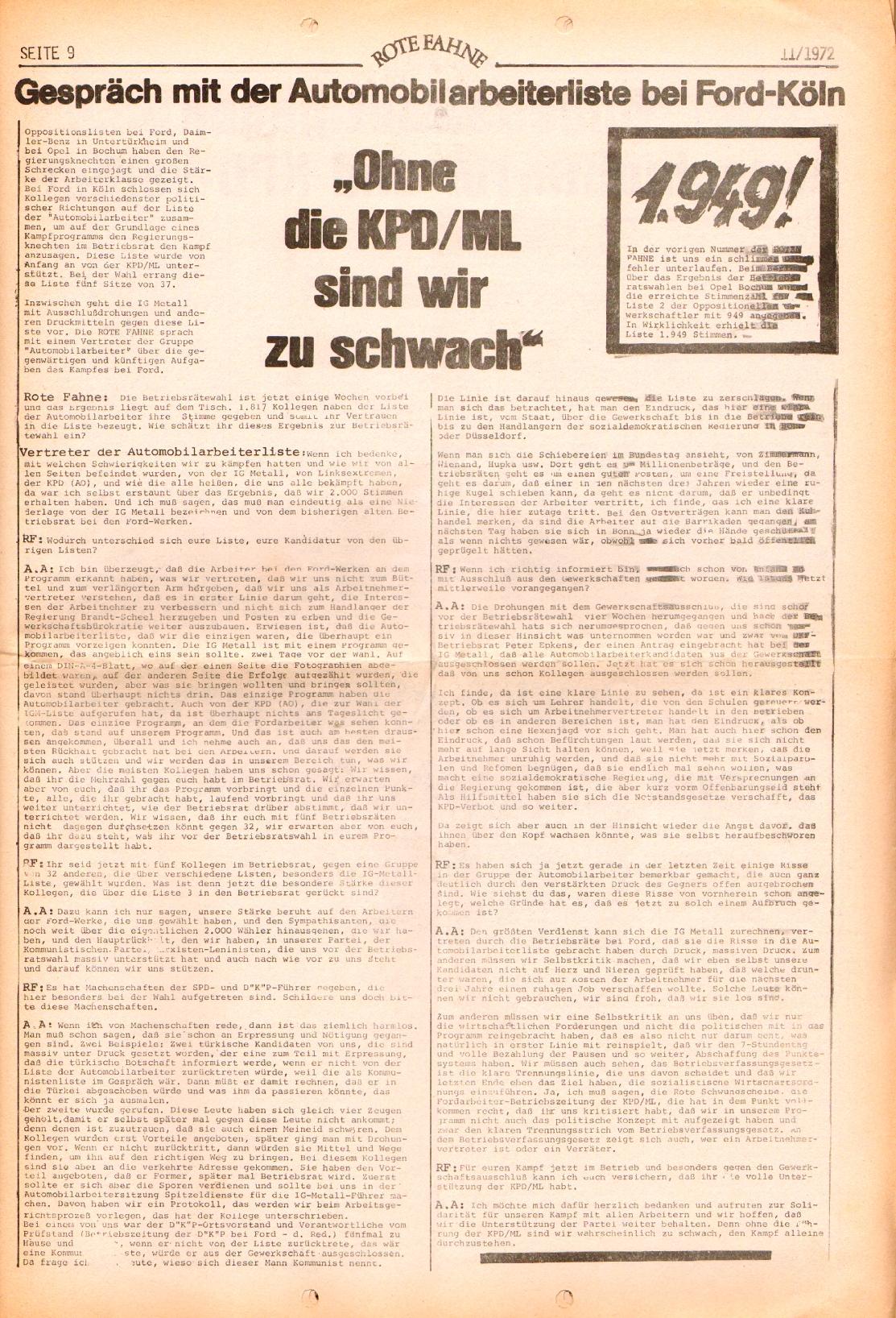 Rote Fahne, 3. Jg., 29.5.1972, Nr. 11, Seite 9