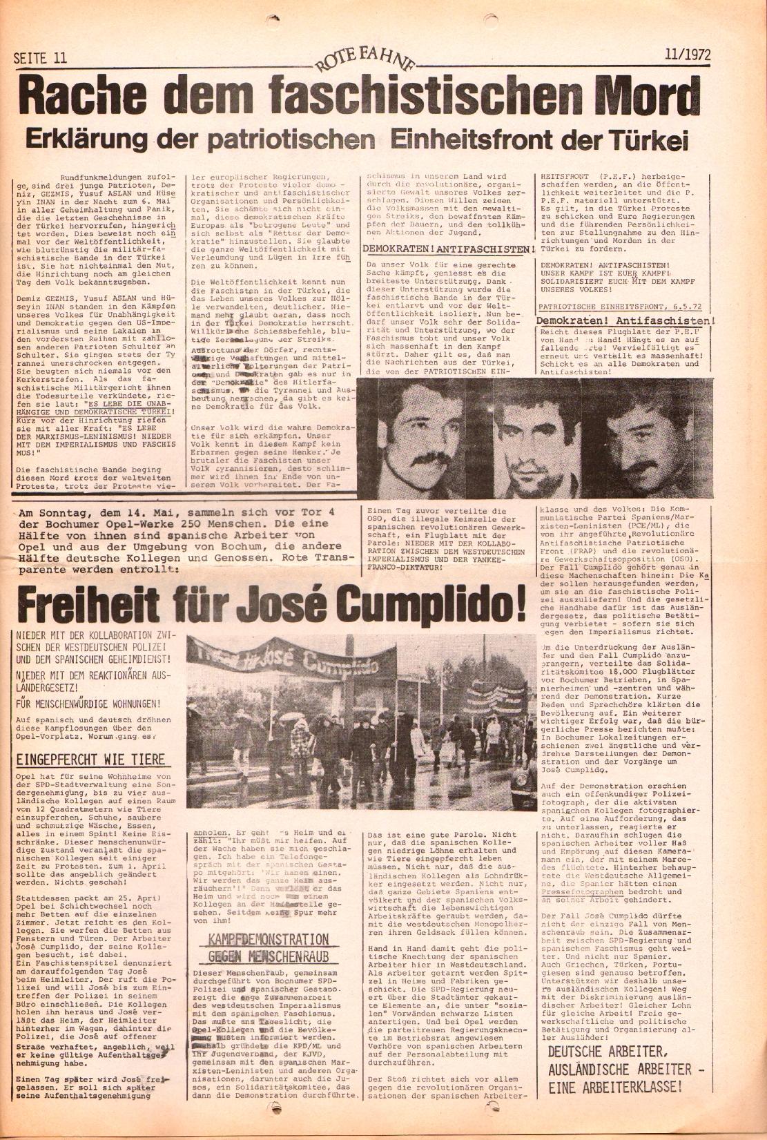 Rote Fahne, 3. Jg., 29.5.1972, Nr. 11, Seite 11