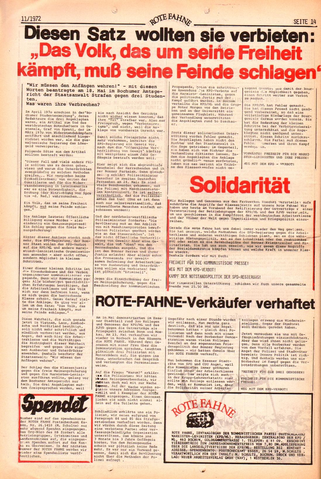 Rote Fahne, 3. Jg., 29.5.1972, Nr. 11, Seite 14