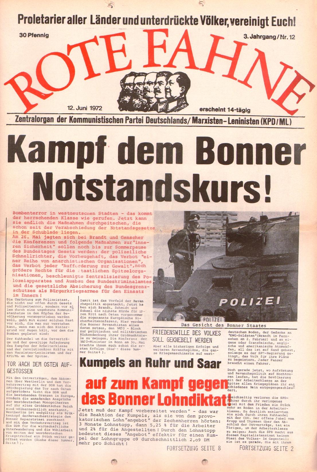 Rote Fahne, 3. Jg., 12.6.1972, Nr. 12, Seite 1