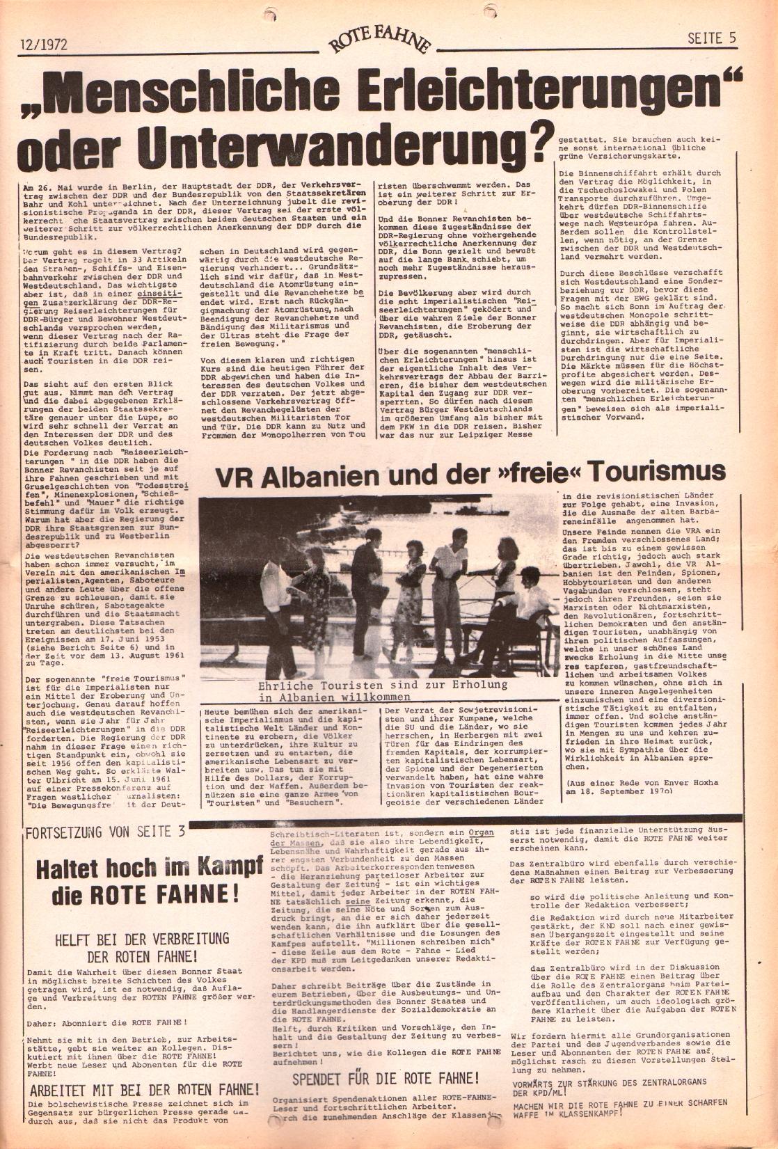 Rote Fahne, 3. Jg., 12.6.1972, Nr. 12, Seite 5