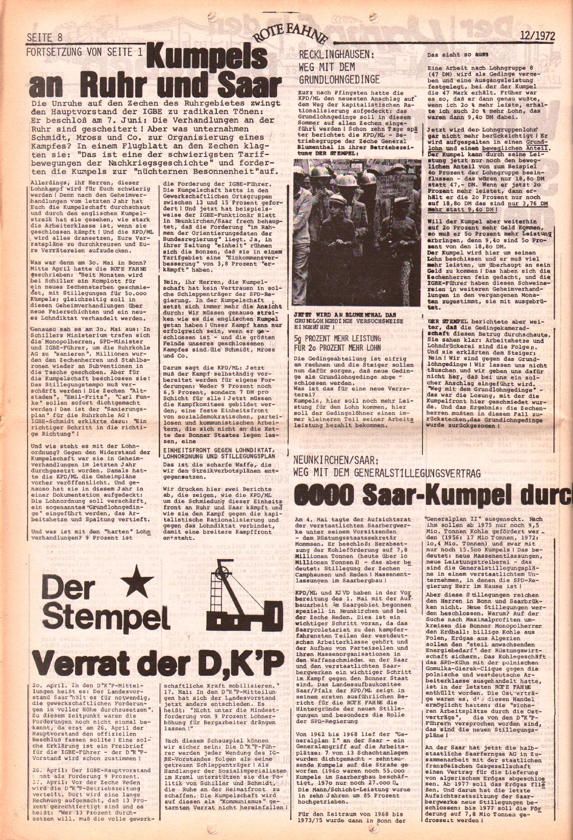 Rote Fahne, 3. Jg., 12.6.1972, Nr. 12, Seite 8