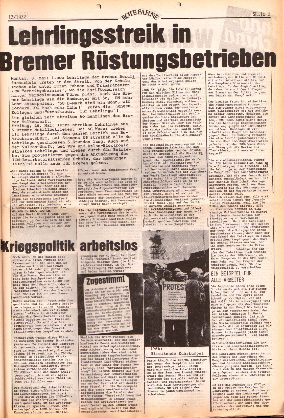 Rote Fahne, 3. Jg., 12.6.1972, Nr. 12, Seite 9