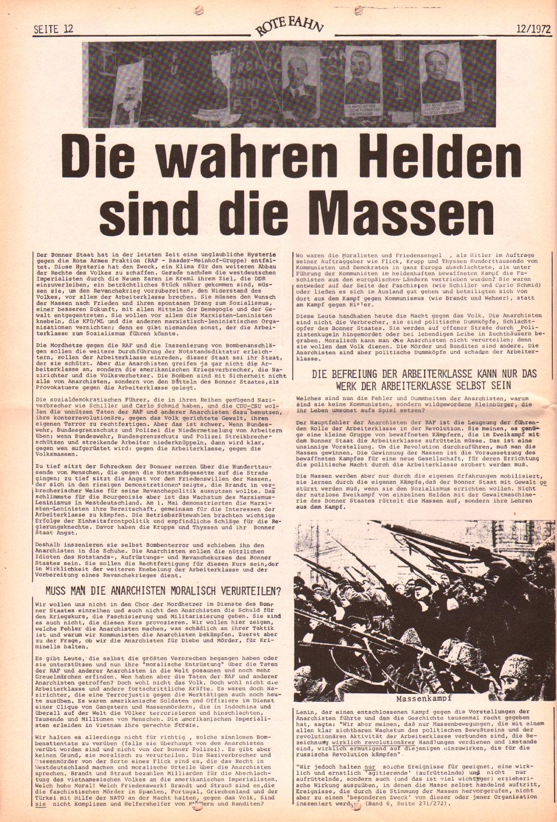 Rote Fahne, 3. Jg., 12.6.1972, Nr. 12, Seite 12