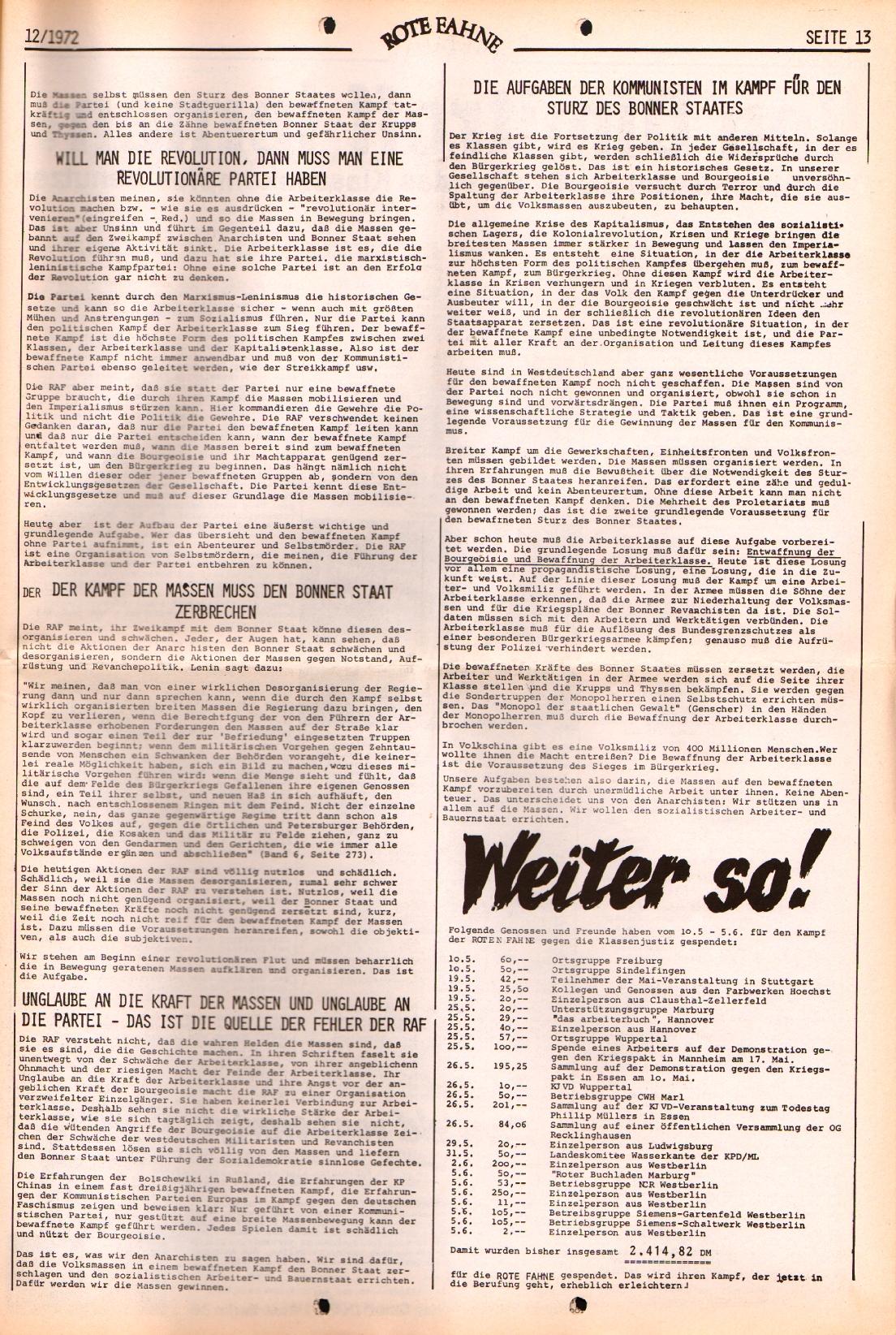 Rote Fahne, 3. Jg., 12.6.1972, Nr. 12, Seite 13