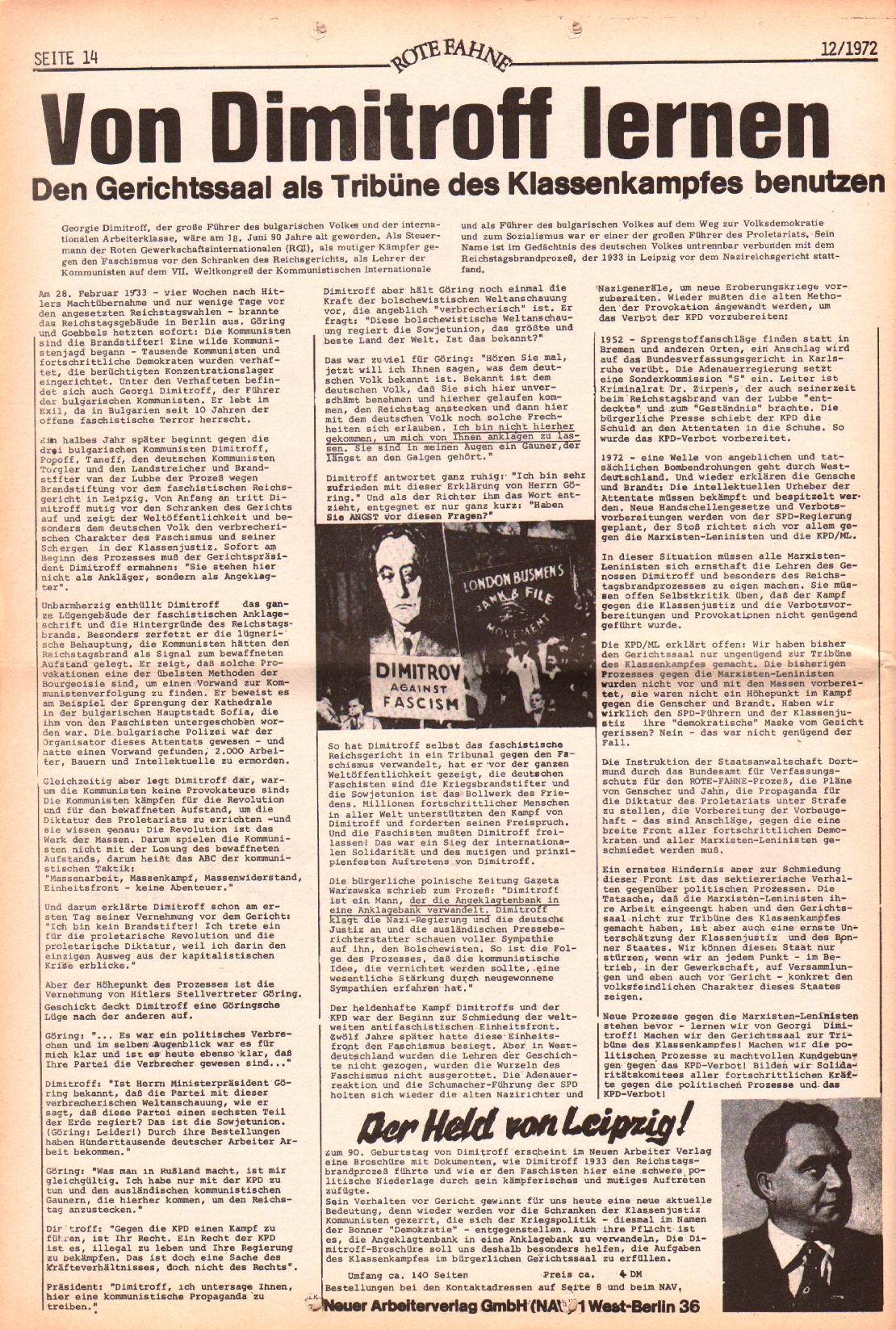 Rote Fahne, 3. Jg., 12.6.1972, Nr. 12, Seite 14
