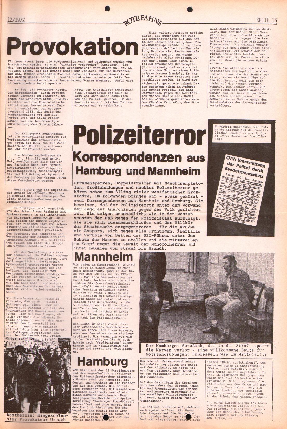 Rote Fahne, 3. Jg., 12.6.1972, Nr. 12, Seite 15