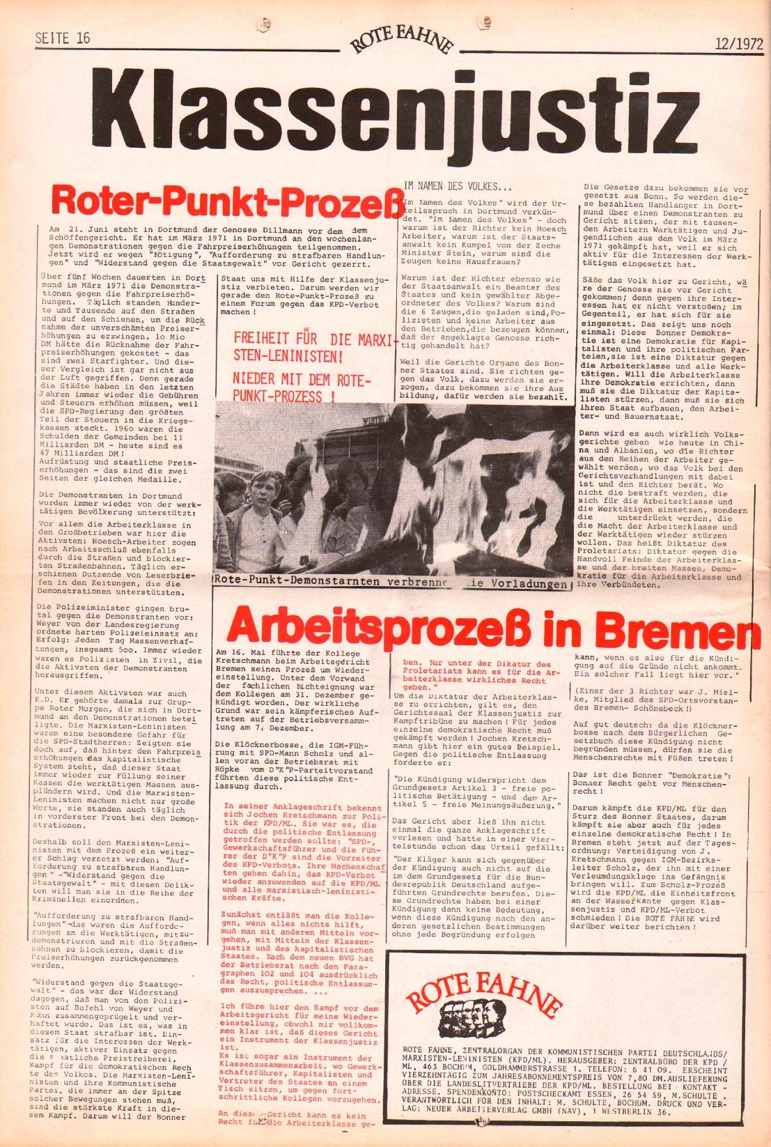 Rote Fahne, 3. Jg., 12.6.1972, Nr. 12, Seite 16