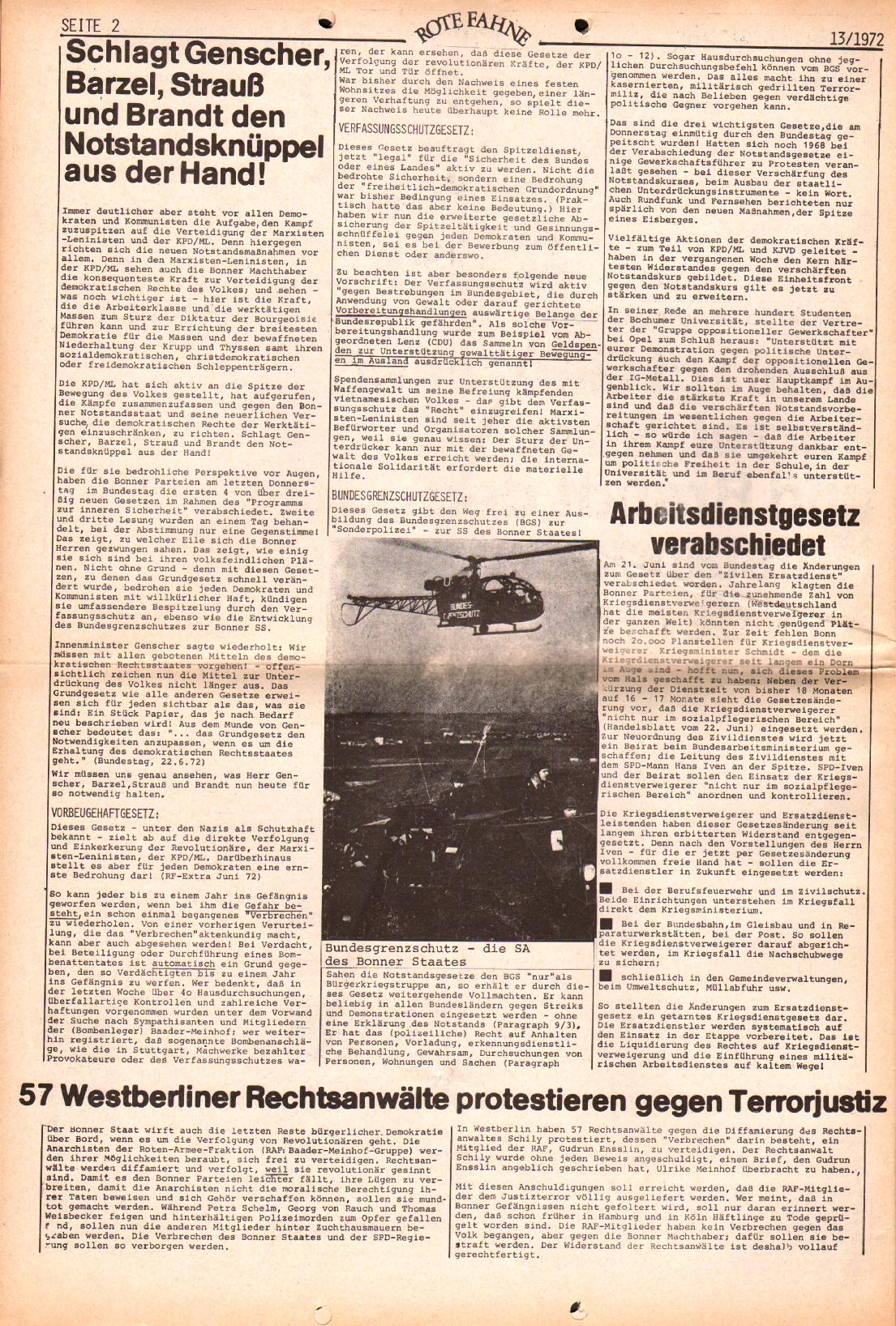 Rote Fahne, 3. Jg., 28.6.1972, Nr. 13, Seite 2