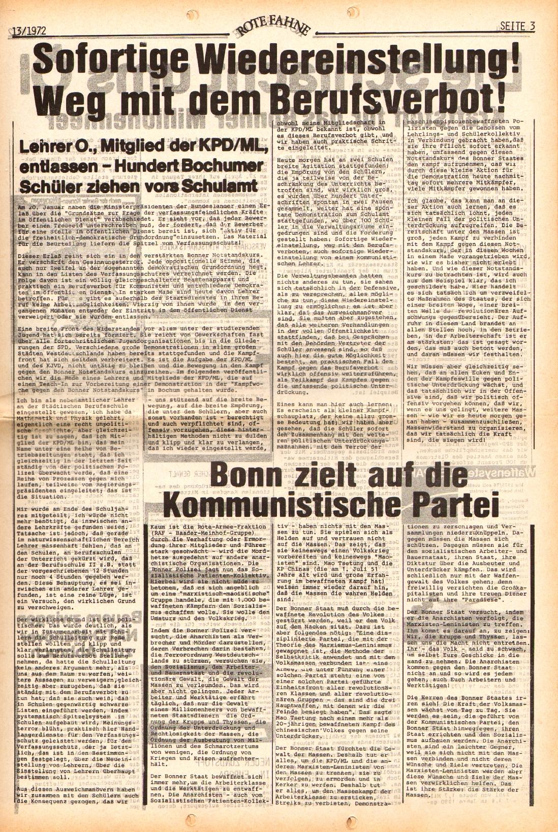 Rote Fahne, 3. Jg., 28.6.1972, Nr. 13, Seite 3