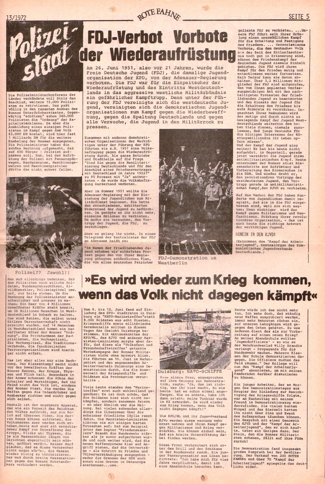 Rote Fahne, 3. Jg., 28.6.1972, Nr. 13, Seite 5