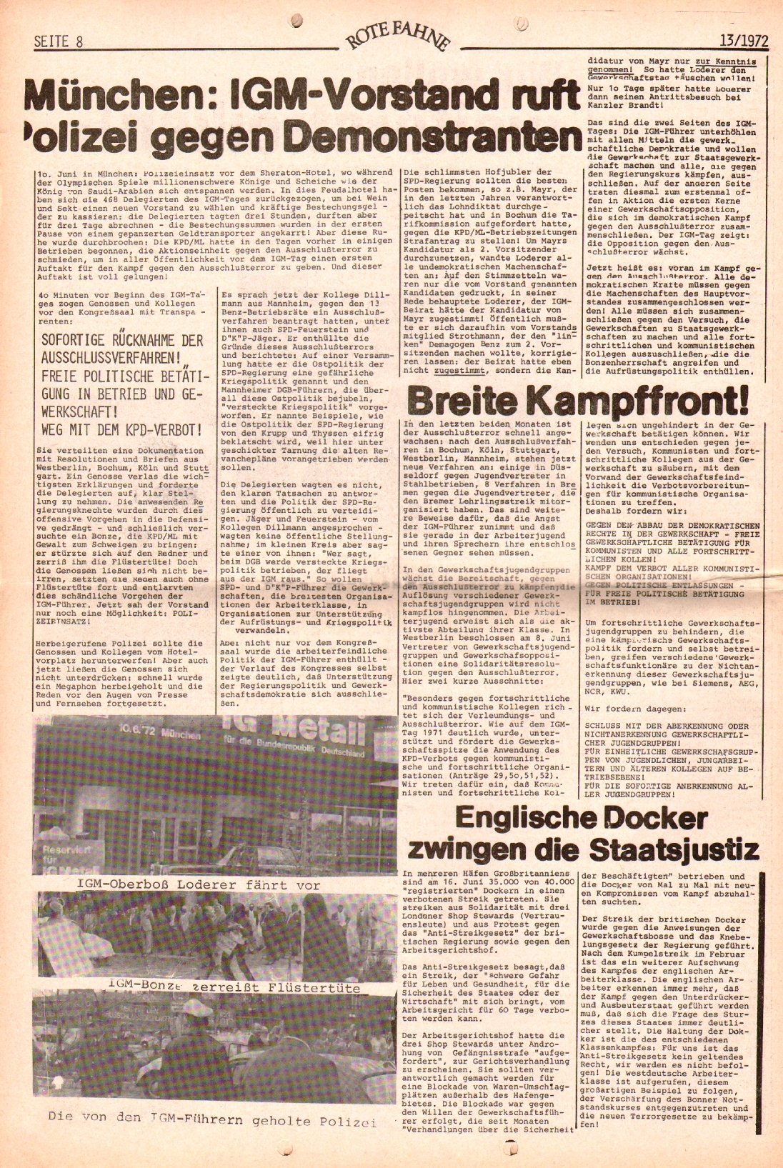 Rote Fahne, 3. Jg., 28.6.1972, Nr. 13, Seite 8