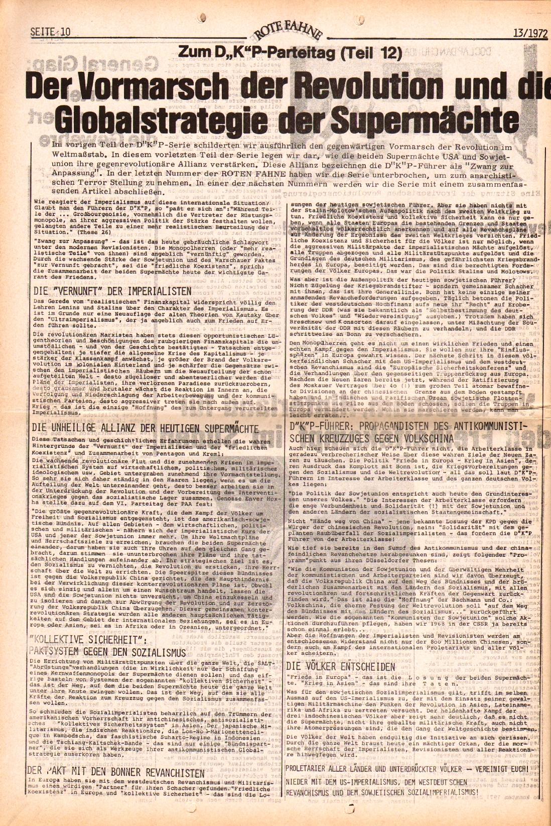 Rote Fahne, 3. Jg., 28.6.1972, Nr. 13, Seite 10