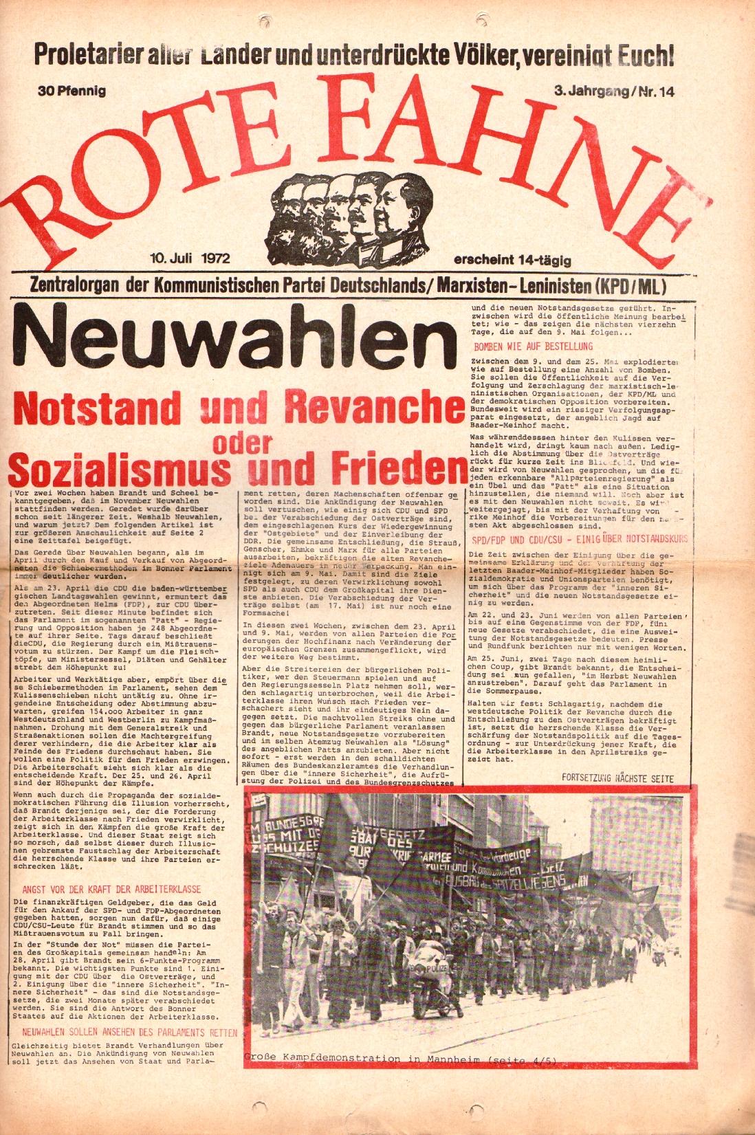 Rote Fahne, 3. Jg., 10.7.1972, Nr. 14, Seite 1