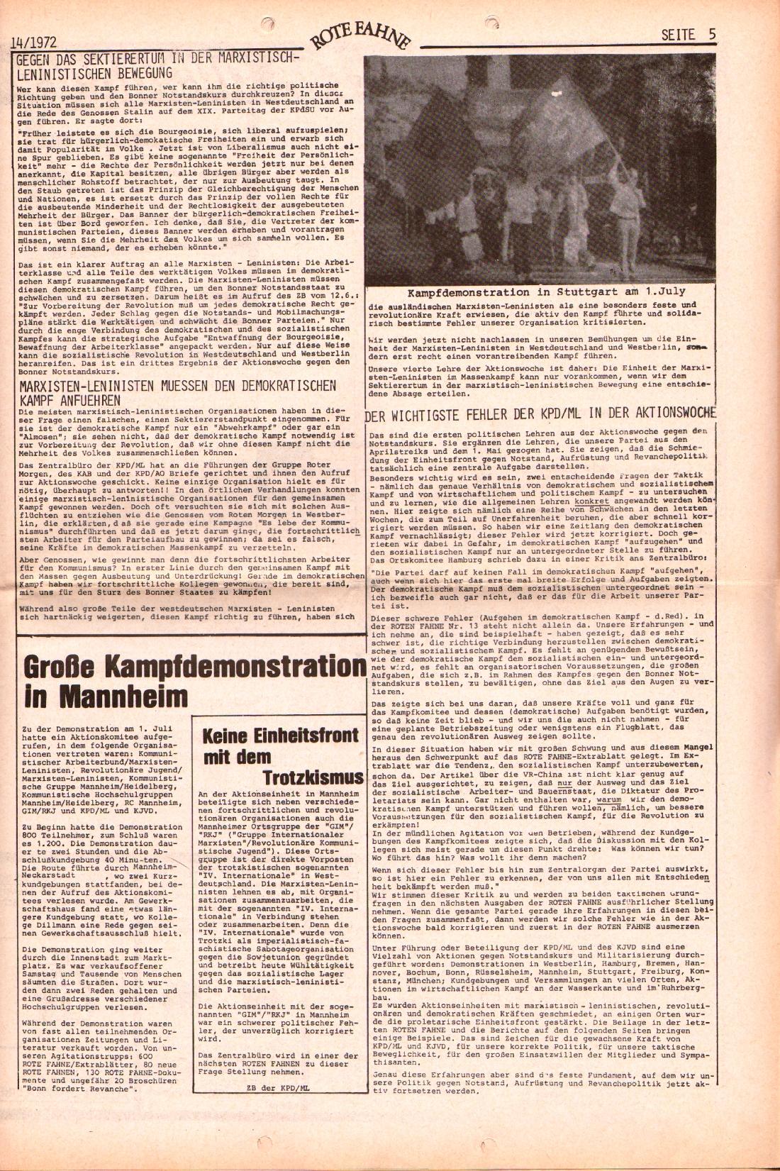 Rote Fahne, 3. Jg., 10.7.1972, Nr. 14, Seite 5